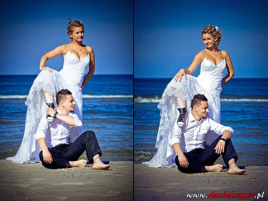 zwariowane zdjęcia plenerowe młodej pary