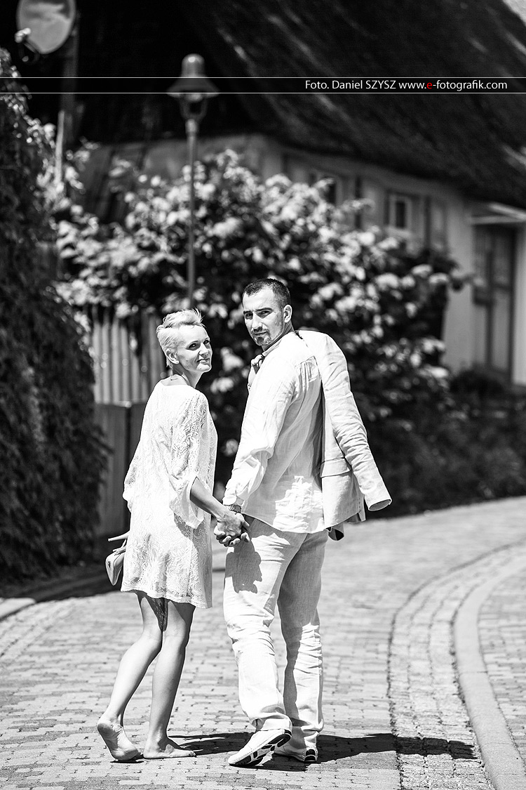 Świnoujście  czarno biała sesja ślubna